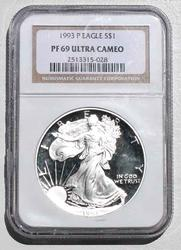 1993 P Silver Eagle NGC  Proof 69 Ultra Cameo