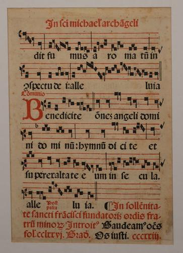 Antique Latin Hymnal, Music Sheet Written on Vellum