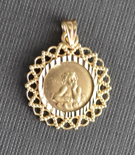 10k Yellow Gold Guardian Angel Medal Charm Pendant