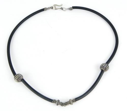 Sterling Beads & Black Silicone Neckpiece