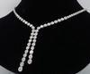 14K White Gold Diamond Drop Necklace