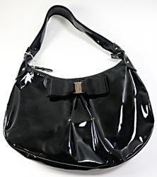 Ferragamo Miss Vara Susy Black Patent Leather Purse