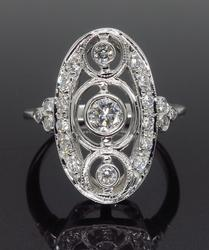 18K White Gold Navette Style Diamond Ring