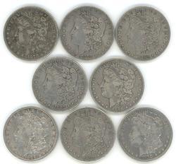 8 Diff. 19th Century Morgan Silver Dollars 1878 to 1900