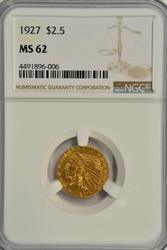 Lovely BU 1927 $2.50 Indian Gold Piece. NGC MS62