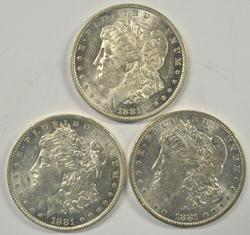 3 Flashy-white 1881-O Morgan Silver Dollars. Nice