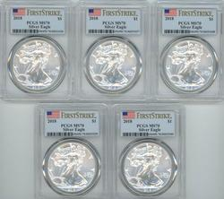 5 PCGS MS70 graded First Strike 2018 $1 Silver Eagles