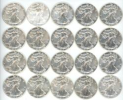 Gem BU mixed roll of 20 Silver Eagles 2013 t0 2016
