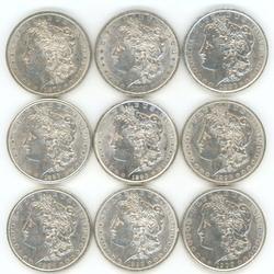 9 Diff. Lustrous AU/BU 'P' Mint Morgan Silver Dollars