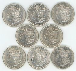 8 Diff. flashy AU Morgan Silver Dollars 1879 to 1900