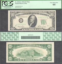 $10 1950 Wide FRN PCGS Vy Choice New 64
