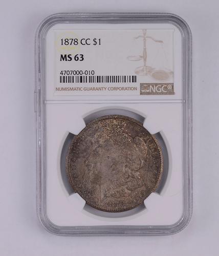 MS63 1878-CC Morgan Silver Dollar - Graded by NGC