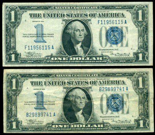 2 Nice 1934 Series 'Funny Backs' $1 Silver Certificates