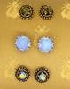 Set of Three Crystal Stud Earrings