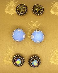 Set of Three Crystal Stud Earrings