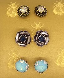 Sparkly Crystal Stud Earring Trio