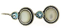 Blue Topaz and Mop Sterling Silver Earrings