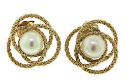 Interlocking Circle Pearl Stud Earrings