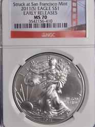 2011 (S) MS70 Early Release Silver Eagle, NGC
