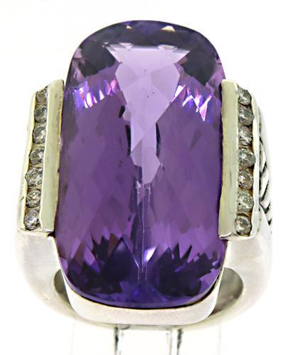 David Yurman Amethyst & Diamond Cocktail Ring
