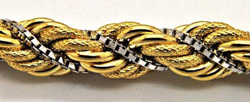 ITALIAN 18 KT YELLOW AND WHITE GOLD TWISTED ROPE SAUTOIR NECKLACE