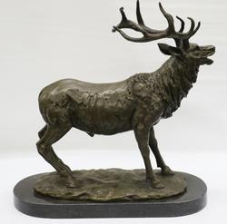 Wildlife Statue Elk Deer Stag Hunter Bronze on Marble