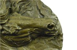 Barye Unique Bronze Bust Horse Head Sculpture on Marble