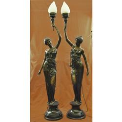 French Gorgeous Maiden Lamp Light Fixture Bronze Statue