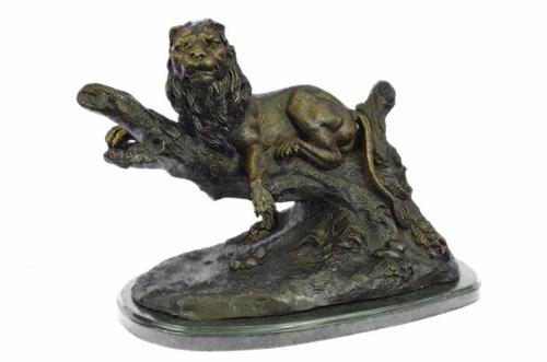 Lion Resting Bronze Sculpture on Marble Base Figurine