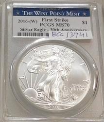 2016-W Unc Silver Eagle PCGS MS-70, First Strike