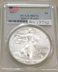 2017 Unc Silver Eagle PCGS MS-70, First Strike