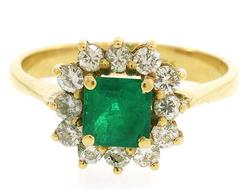 Traditional Emerald & Diamond Halo Ring, 18K