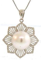 Rich Diamond Flower Design Pendant Necklace
