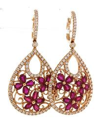 Party Earrings: Diamond & Ruby Dangles in 18K Rose Gold