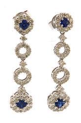 18kt Sohpisticated Diamond & Sapphire Earrings