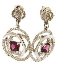 Rhodolite Garnet & Diamond Dangle Earrings