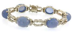 Chalcedony & Diamond Fancy Design Bracelet in 18K White Gold