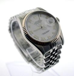 Gents stainless steel Rolex Datejust With Gold Bezel