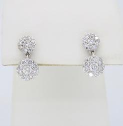 18K White Gold Dangle Diamond Earrings
