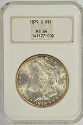 Great near Gem BU 1879-S Morgan Dollar. Old NGC MS64