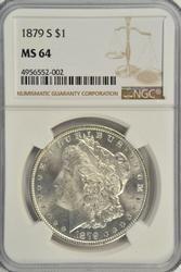 Blazing near Gem BU 1879-S Morgan Dollar. NGC MS64