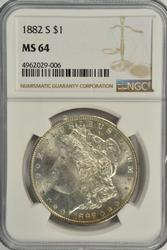Super near Gem BU 1882-S Morgan Silver Dollar. NGC MS64
