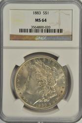 Better near Gem 1883-P Morgan Silver Dollar. NGC MS64