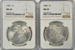 Nearly Gem BU 1885 & 1886 Morgan Dollars. NGC MS64's