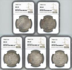 Wholesale dealer lot: 5 NGC MS64 1904-O Morgan Dollars