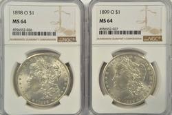 Great near Gem BU 1898-O & 1899-O Morgan Dollars. MS64
