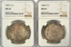 2 Gorgeous Gem BU 1880-S Morgan Dollars. NGC MS65