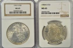 Gem BU 1902-O & 1904-O Morgan Silver Dollars. NGC MS65