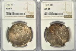 2 Gem BU NGC MS65 graded 1922 Peace Silver Dollars
