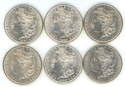 6 Diff. Blazing-white Morgan Silver Dollars 1886-1900